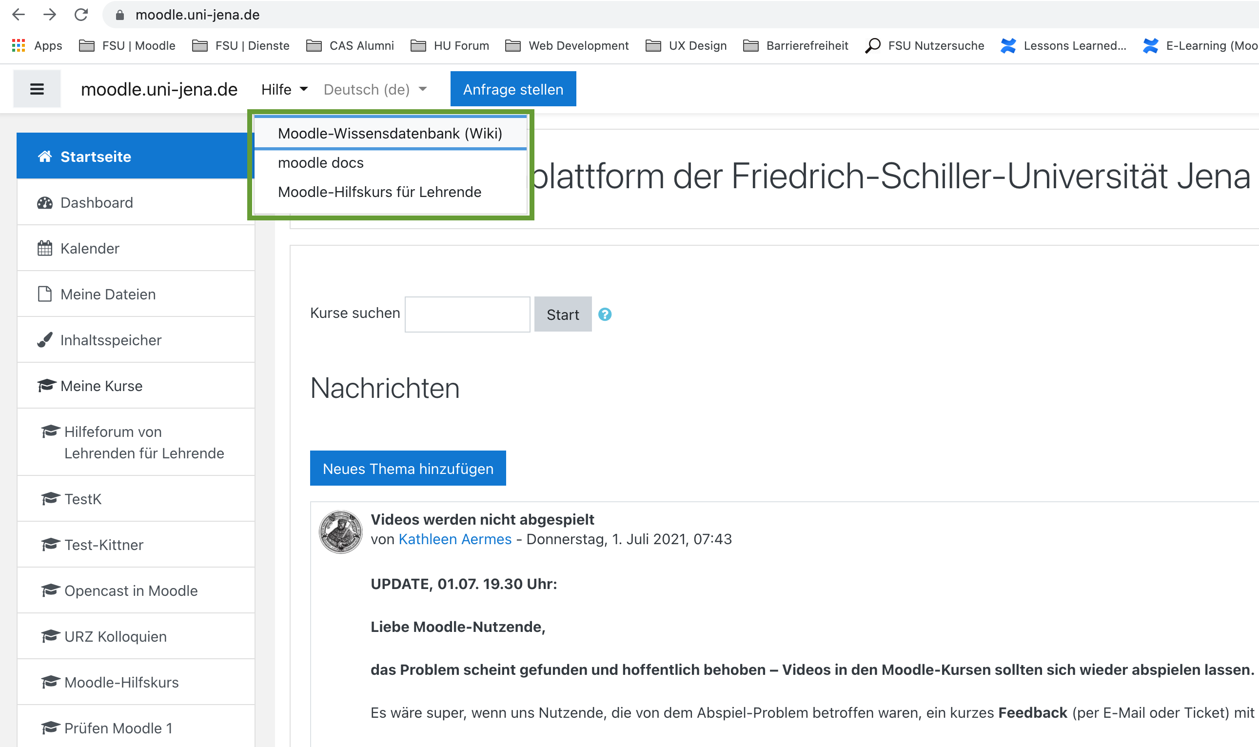 Hilfe-Menü auf moodle.uni-jena.de